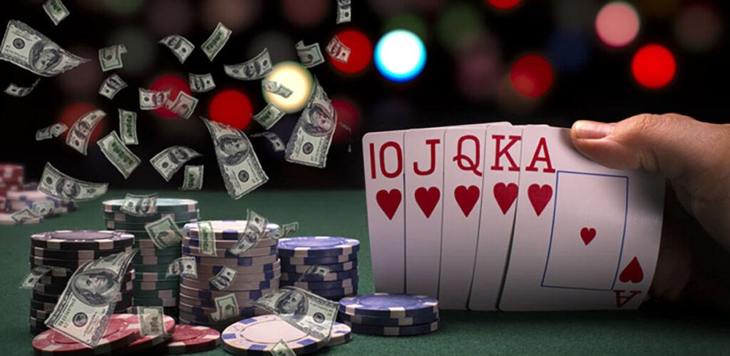poker chips cards and australian dollar bills
