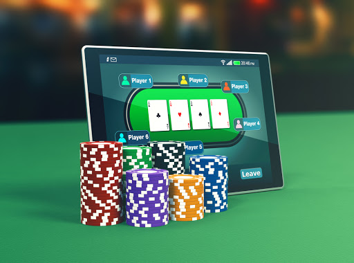 playing poker on a tablet