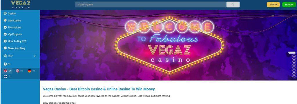 Vegaz Casino home page