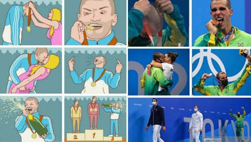 olympian mimics meme 10 Funniest Moments from the 2020 Tokyo Olympics