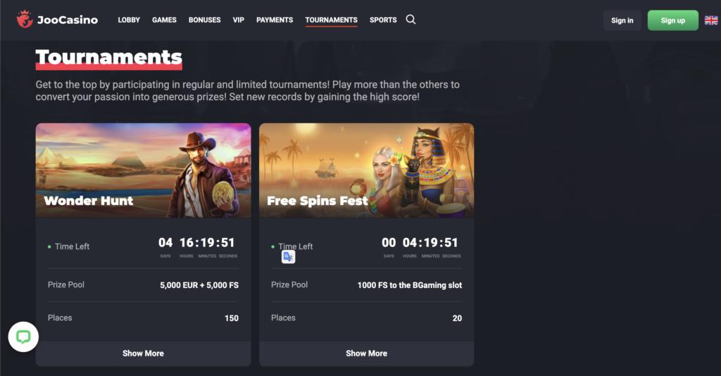 Joo Casino tournaments page