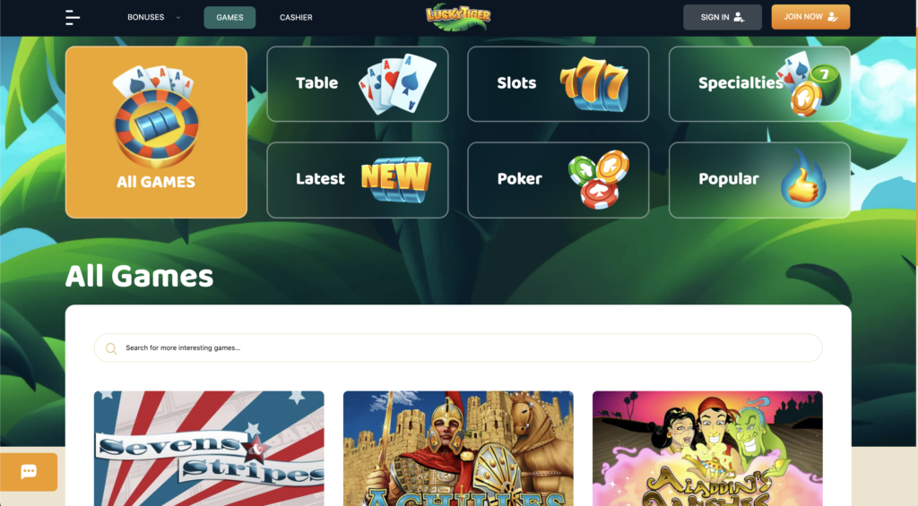 Lucky Tiger Casino Game page