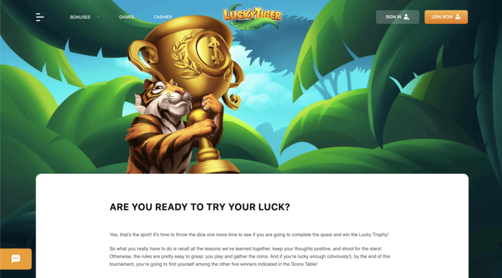 Lucky Tiger Casino Tournaments page