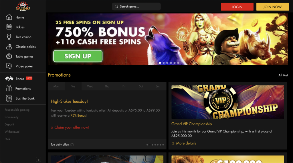 Casino Moons Promotion page