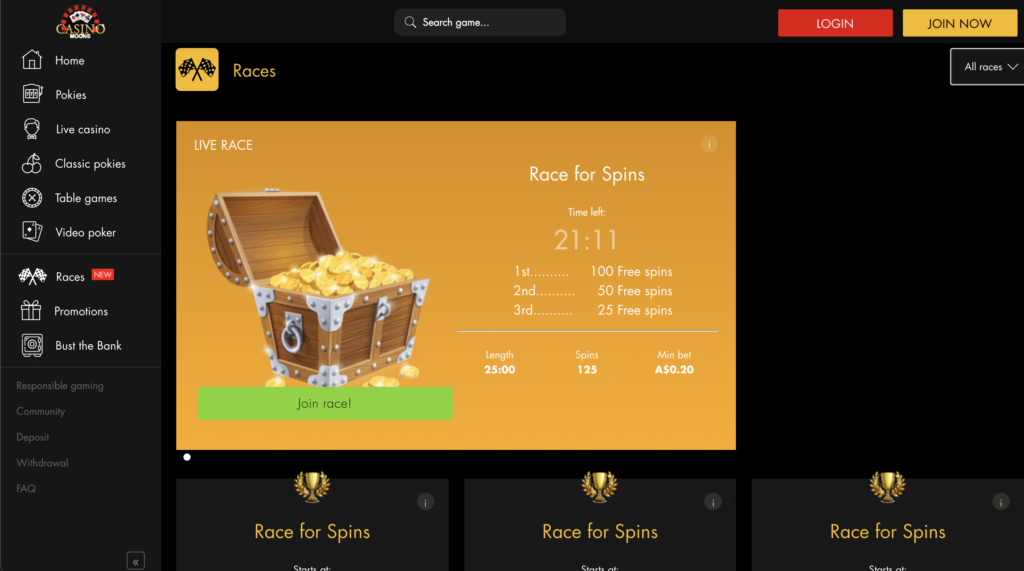 Casino Moons race page