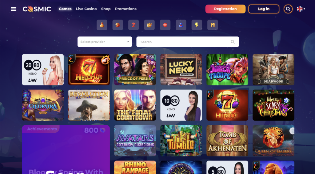 CosmicSlot Games page