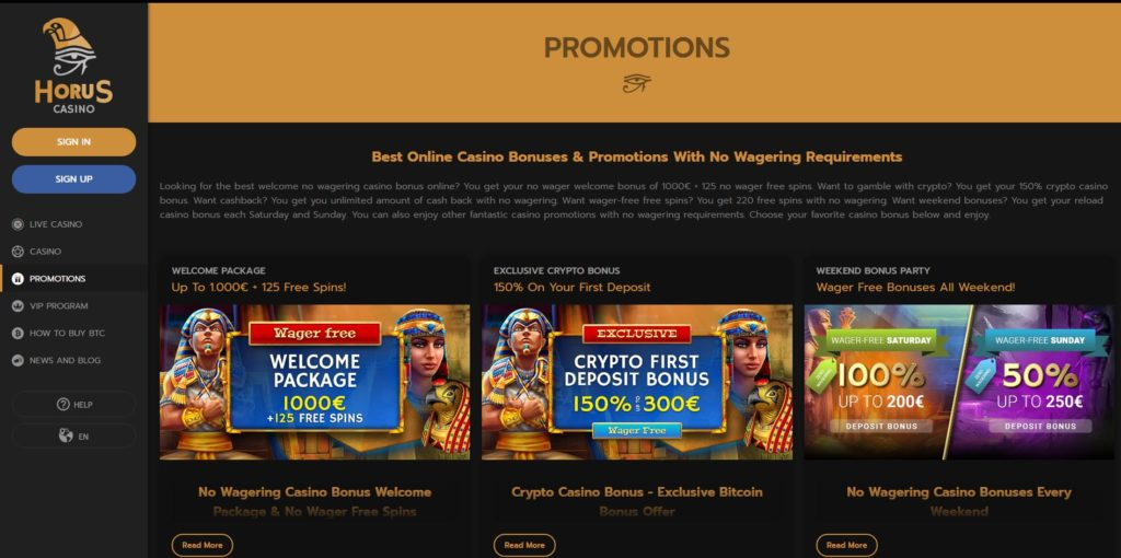 hours promotions page Horus Casino Review