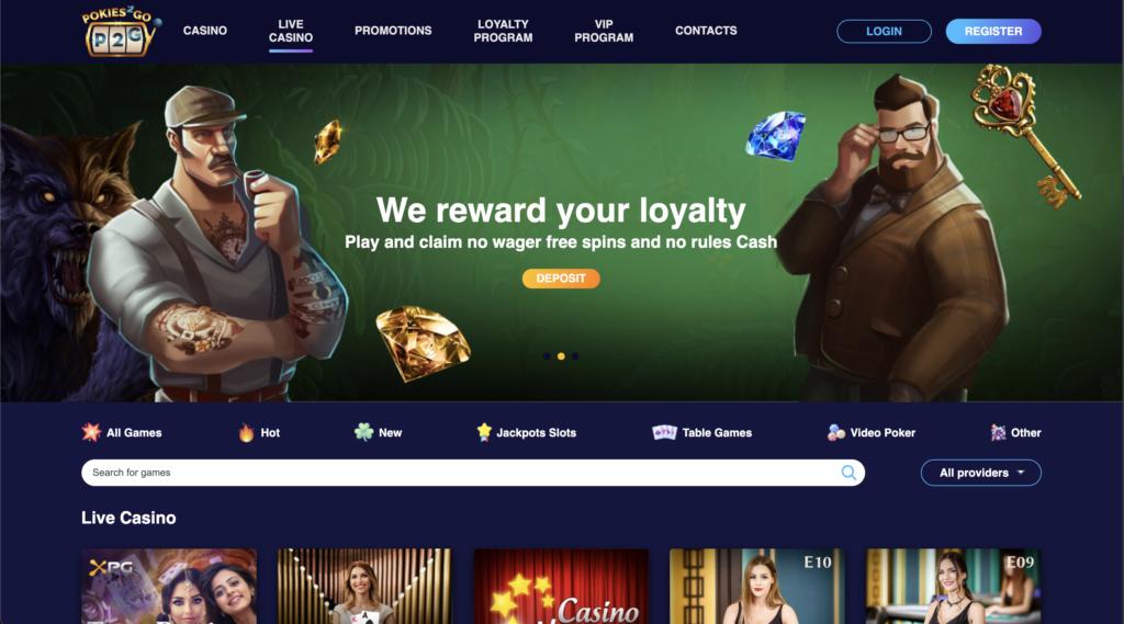 pokies2go live casino page