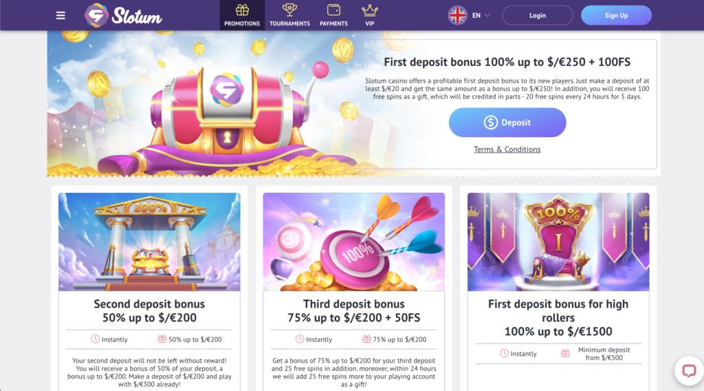 slotum promotion page