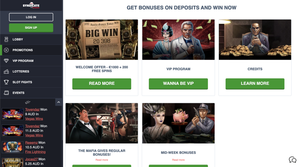 Syndicate Casino Promotion page