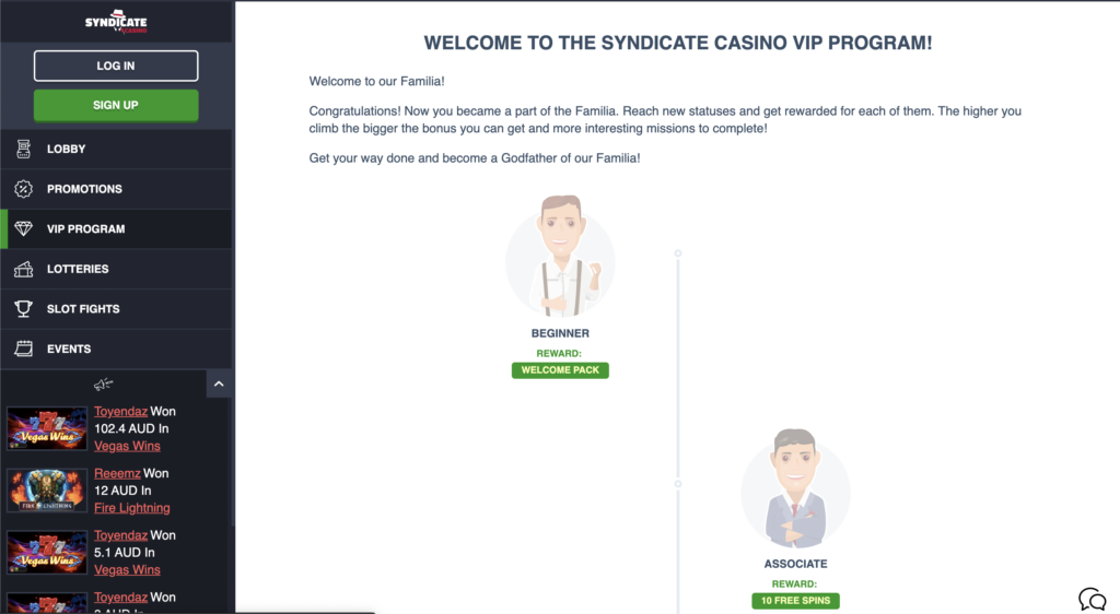 Syndicate casino VIP program page